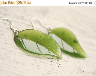 ON SALE Green Leaf Earrings - Emerald Green Jade - Sterling Silver