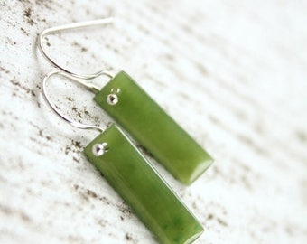 FLASH SALE Rectangular Green Jade Earrings - Sterling Silver - Hand Carved Jade Jewelry