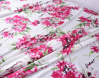 """Stretchy silk Satin Fabric, big flowers , 55"""" 19m/m, beautiful floral silk fabric for evening dresses, skirts, shirts, by the yard"""