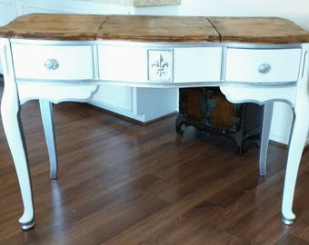 White and Silver French Country Regency Vanity, Desk