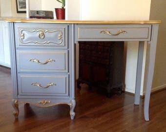 Gray and Gold Trim Hollywood  Regency Vanity, Desk