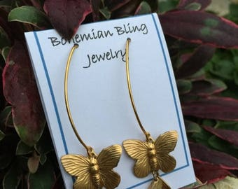 Summer Wedding SALE Butterfly Earrings ,Dainty Drop Earrings , Highly polished Brass Butterflies with fantastic movement,beautiful with just