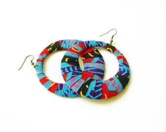 Ankara Print Wrapped Fan-Shaped Hoop Earrings