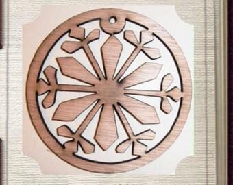 Fancy Circular Ornament - Laser Cut Wood