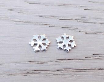 Silver Snowflake Stud Earrings, Sterling Silver