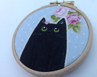 Black cat textile art  - fun cat art - cat lover gift - cat hoop art - black cat lover