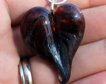 Glass Heart Necklace, Blown Boro Pendant, Lampwork Focal Bead Red Twisted over Steel Wool