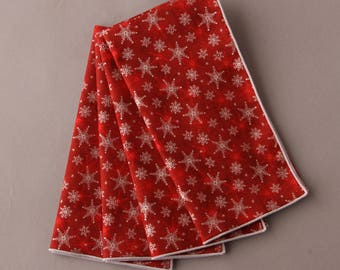 Snowflake Napkins, Red and Silver Napkins, Winter and Holiday Decor, Christmas Gift