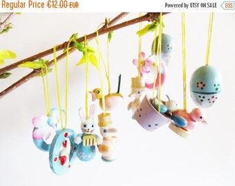 SUMMER SALE - Set of 11. p German Vintage wooden Cream Pearl Pastel colored Egg Bunny and Bird Ornaments Ornaments for Easter Home Decor