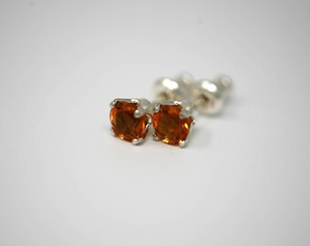 Brazilian Golden Citrine Sterling Silver 5mm Stud Earrings