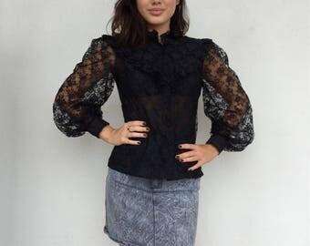 Beautiful 70s Edwardian black lace high neck sheer top