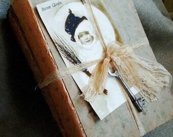 Ornate Book Bundle, w/Decorated Pages, Lace, Vintage Key, Vintage Image, Christmas Book Bundle