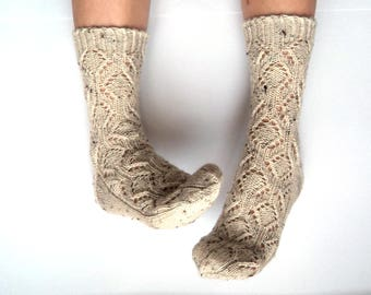 NEW Hand knit wool socks for her. Tweed wool knit socks. Knit lace socks. Warm house socks. Off white tweed. Gift for her. Christmas socks.