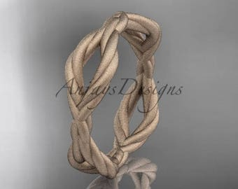 14k rose gold rope matte finish wedding band RP898G