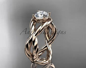 14kt rose gold twisted rope engagement ring RP8181
