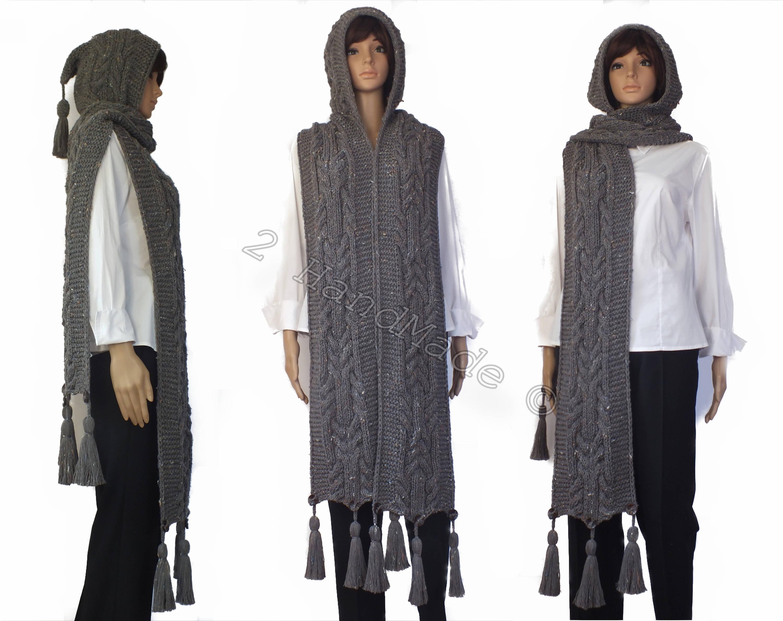 Grey Tweed Cable Hand Knit Hooded Scarf Wool Pom Pom Hulk Infinity ...