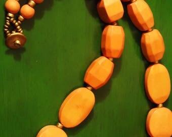 Vintage Boho Orange Wooden Necklace