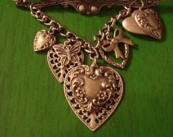 RESERVED Angie Vintage Silver tone Hearts and Bow Pendant