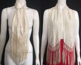 1910s 1920s Embroidered silk scarf