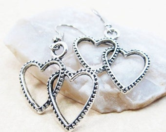 40% OFF Dangle Drop Earrings - Silver Pewter Metal Double Heart Charms - Surgical Steel Ear Hooks (H-8)