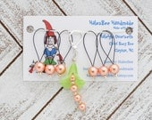 Green Bell Flower Progress Keeper with Orange Faux Pearl Beaded Stitch Markers Set Knitting Notions Gifts for Knitters