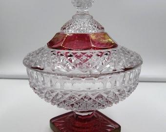 Vintage Ruby Flash Hobnail Pattern Glass, Vintage Westmoreland Ruby Flash Candy Dish, Collectible Ruby Flash Glass,  Westmoreland Red Glass