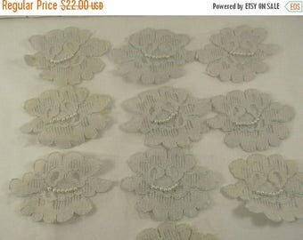 On Sale Vintage 10 Silver Gray Lace Pearl Appliques, Vintage Lace with Hand Sewn Pearls, Vintage Lace Applique, Vintage Wedding Lace  Pearls