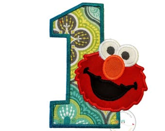 Red monster with teal, green and gray pattern number 1 birthday patch - iron embroidered fabric applique patch embellishment- ready to ship