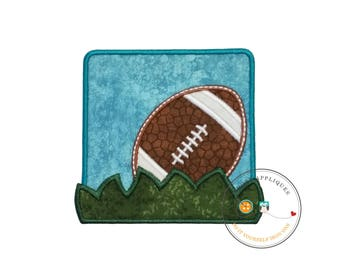 Football in the grass blue square iron on applique for boys and girls, Football embroidered fabric no sew patch, Ready to ship applique