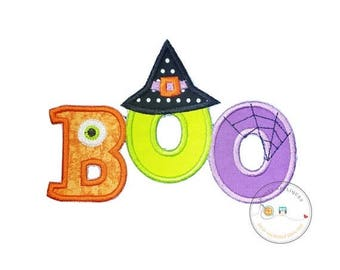 ON SALE NOW Boo halloween text emoridered fabric iron on applique, Cute monster and witch letter no sew iron on Halloween patch, ready to sh
