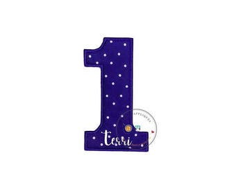 Purple number one with tiny white polka dots fabric iron on applique