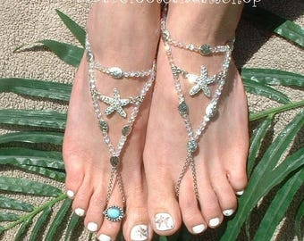 SHINY Rhinestone Barefoot Sandals for Beach Wedding GLOSSY Toe Ring Ankle Bracelet Jewelry CLEAR Womens Starfish Foot Jewelry Low Heel Shoes