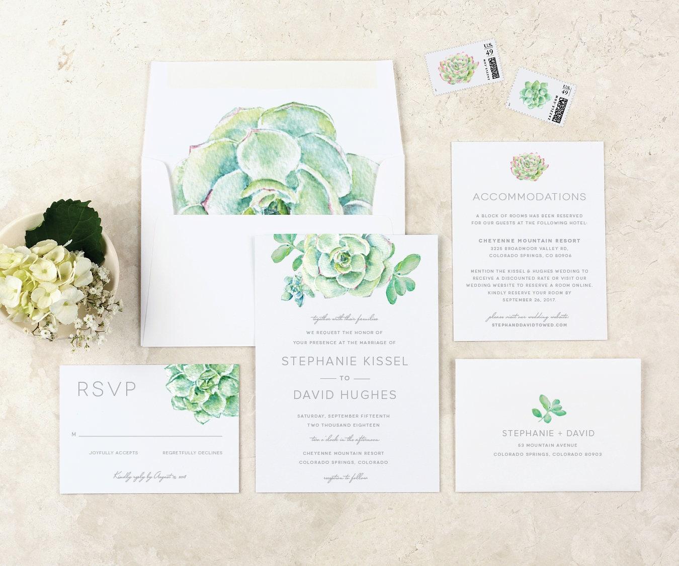 Succulent Wedding Invitation Modern Garden Wedding Invitation ...