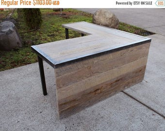 Limited Time Sale 10% OFF L Shaped Industrial desk with front panel and steel legs