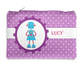 Robot Personalized Pencil Case - Robot Girl Purple Polka Dots with Name, Customized Pencil Case, Pencil Holder, Pouch