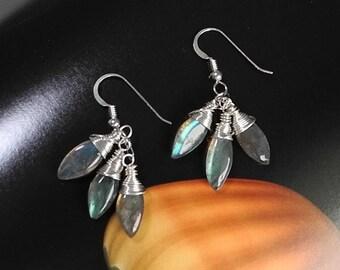Blue Labradorite Earrings, Long Dangle Earrings, Aurora Borealis Labradorite, Marquis Briolette Earrings, Mystical Moon Designs