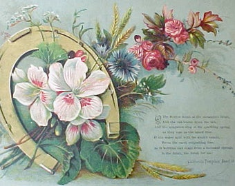 Beautiful Large Victorian Era Scrap with Aqua Background and Lovely Poem