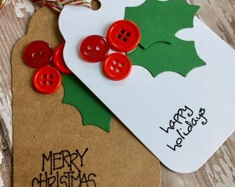 holly berry tag, holly berry gift tags, 8 tags, baked goods tag,kraft gift tag,holiday tag,holiday gift tag,christmas gift tag,party favor