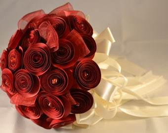 Wedding Bouquet Blood Red and Ivory Satin Ribbon