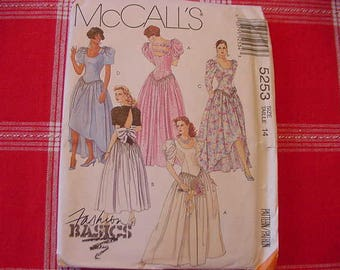 Vintage, UNCUT 1990s McCalls Pattern 5253, Misses' Bridesmaid Gowns or Dress, Variations, Party Dress, Size 14, Bust 36