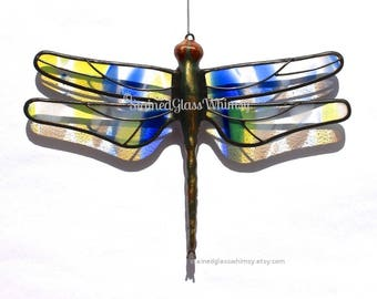 DRAGONFLY Suncatcher, Stained Glass, Cobalt Blue , Sunflower Yellow, White on Clear Wings,  Dragonfly Ornament, USA Handmade, Striped Wings