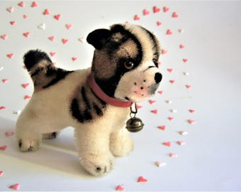SALE Priced-Vintage Steiff Bulldog Bully ID 1966-67 Miniature (10 cm)  Handmade Toy Dog Collectible Doll Sized EXC
