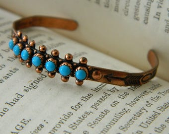 Vintage Child's Copper Bracelet with Turquoise.