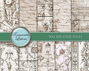 Sale 60% Digital scrapbook paper background digital vintage paper background sepia printable decoupage paper digital scrapbook vintage paper