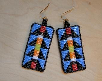 Blue and Black Lizard Spine Design Beaded Earrings