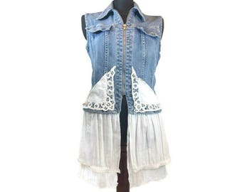 Denim Lagenlook Vest, Upcycled Clothing, Upcycled Lagenlook Vest, Boho Vest, Denim Vest, OOAK Upcycled Vest, Gypsy, Refashioned Denim