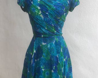 Vintage Wounded Bird floral blues chiffon cocktail dress sz xs custom made