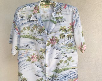 Vintage Canoes Sportswear of Honolulu mens shirts Hawaiian theme sz S/M