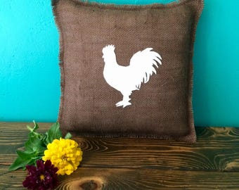 """13"""" x 13"""" Burlap Pillow w/ Farm Animals- Choose Your Colors-Choose Your Animal-Horse/Pig/Cow/Rooster/Sheep/Goose-Rustic Chic-Farmhouse Decor"""