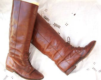 Ladies Boots ~ Leather ~ Vintage ~ Low Heal ~ Sleek ~ Lace up Equestrian Style ~ Brown tone ~ Made in Italy / Marc Alpert